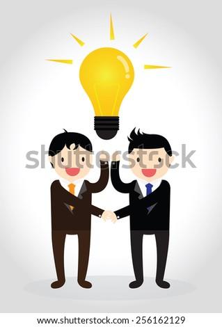 Businessman got idea and shaking hands - stock vector
