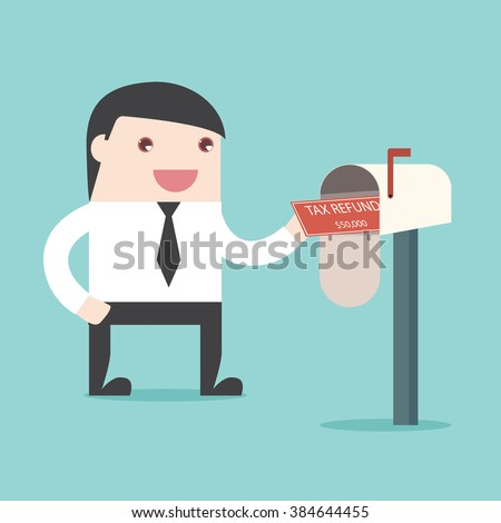 Businessman got Tax refund cheque in mailbox. Refunded check. Money spending. Flat design for business financial marketing commercial banking web advertisement minimal concept cartoon illustration. - stock vector