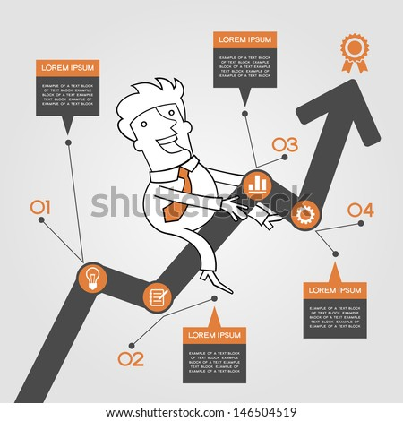 Businessman graph up. Infographics  success. Presentation of business growth - stock vector