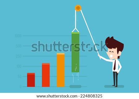 businessman growing financial chart flat design - stock vector