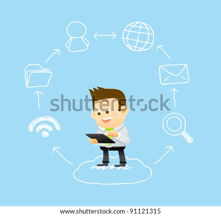businessman & hand drawn cloud computing,communication technology concept - stock vector