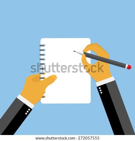 Businessman hand filling checklist illustration. - stock vector