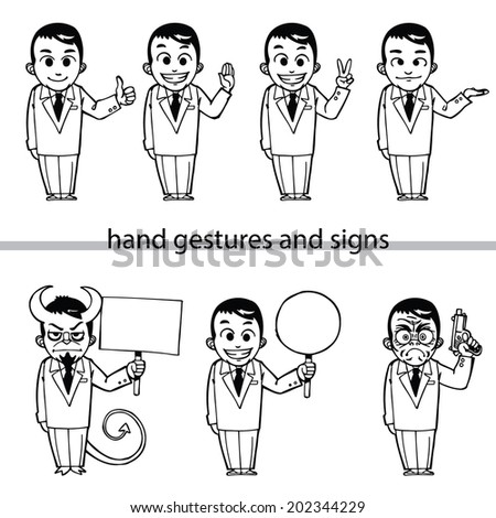 businessman hand gestures and signs - stock vector