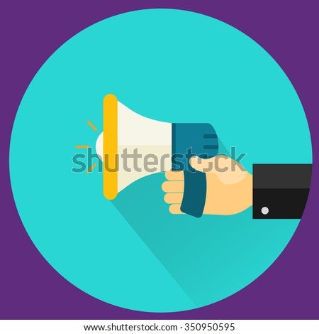 Businessman hand holding a megaphone, News and speech bubble, vector - stock vector