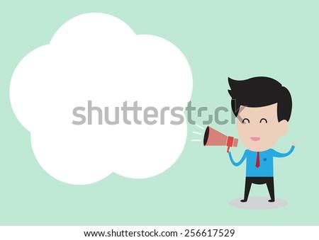 Businessman hand holding a megaphone, promotion marketing concept  - stock vector