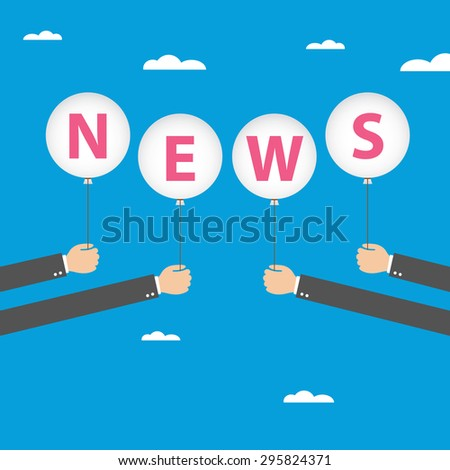 Businessman hand holding balloon with news text on blue sky background - stock vector
