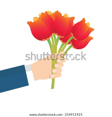 Businessman hand holding bouquet of tulip flowers