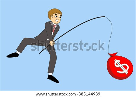 Businessman hand holding fishing rod and money, illustration flat design style