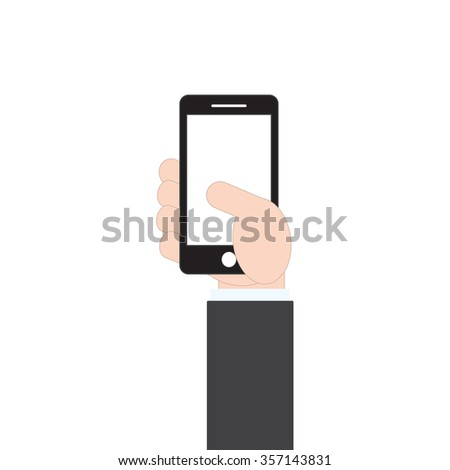 businessman hand holding mobile phone on white background, vector illustration in flat design style - stock vector