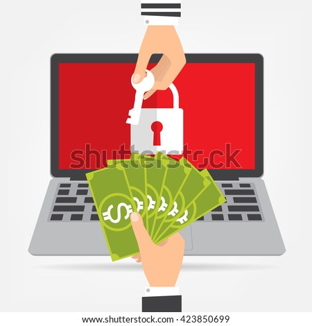 Businessman hand holding money banknote for paying the key from hacker for unlock laptop got ransomware malware virus computer. Vector illustration technology data privacy and security concept. - stock vector