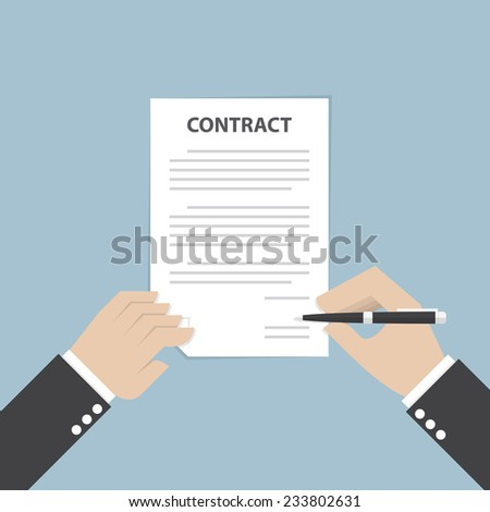 Businessman hand holding pen and signing business contract, VECTOR, EPS10 - stock vector