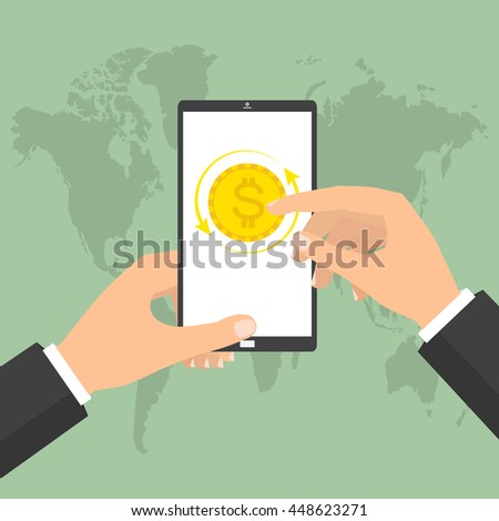 Businessman hand holding smart phone mobile for online currency exchange. Vector concept design of business world money exchange. - stock vector