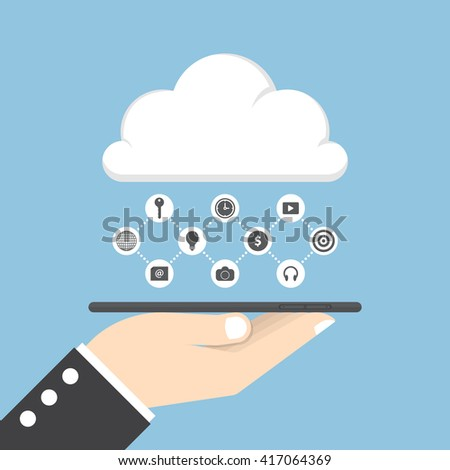 Businessman hand holding tablet and share data on cloud, cloud computing concept - stock vector