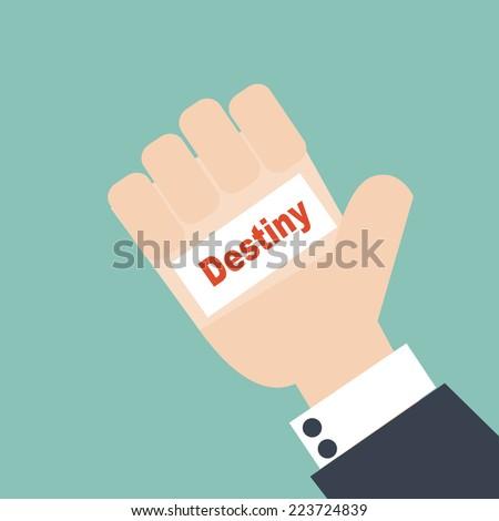 businessman hand holding the word Destiny - stock vector