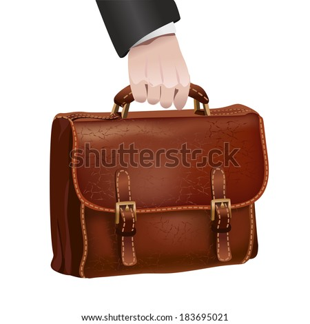 Businessman hand holds classic brown leather textured briefcase isolated vector illustration - stock vector