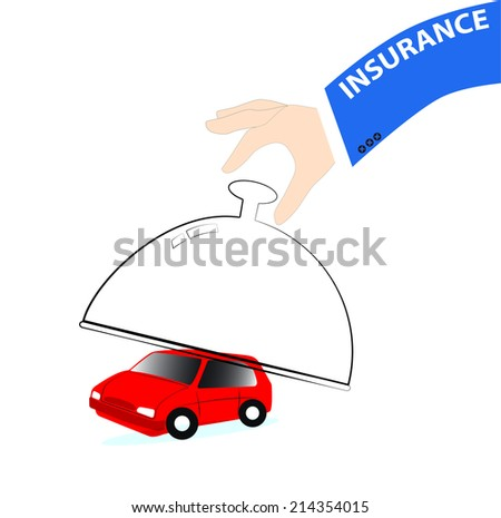 businessman hand Insurance car concept - stock vector