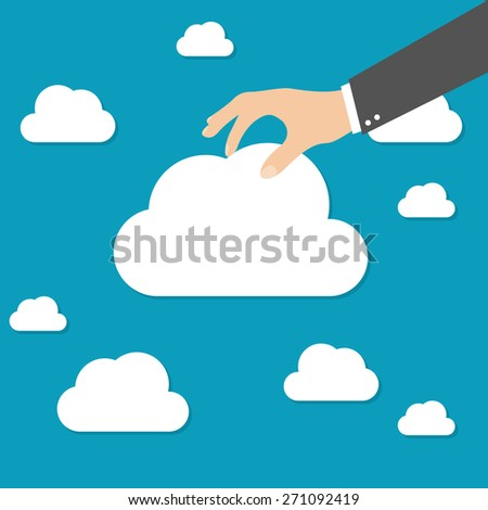 Businessman hand picked clouds - stock vector