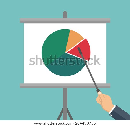 Businessman hand pointing to a flip chart with a pie chart on it - Flat style - stock vector