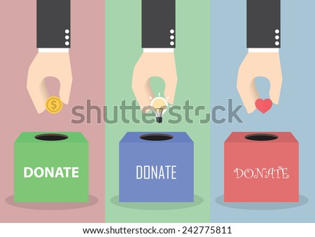 Businessman hand putting coin, light bulb and heart into the box, Donation concept, VECTOR, EPS10 - stock vector
