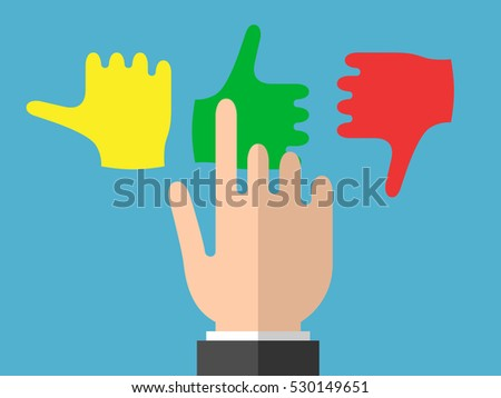Businessman hand selects good emotions on blue background. Rating, choice and opinion concept. Flat design. Vector illustration. EPS 8, no transparency