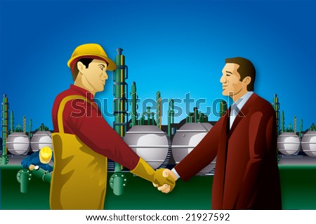 Businessman hand shake with plant worker - stock vector