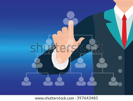 Businessman hand showing human icon flow chart on new modern computer, conceptual vector illustration. - stock vector