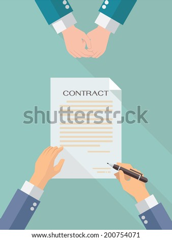 Businessman hand sign business contract paper sheet after agreement, trendy flat design with shadow, top view.   - stock vector