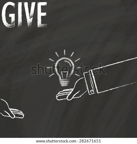 Businessman hand, spread have the light bulb in hand sketch by chalk on blackboard - stock vector