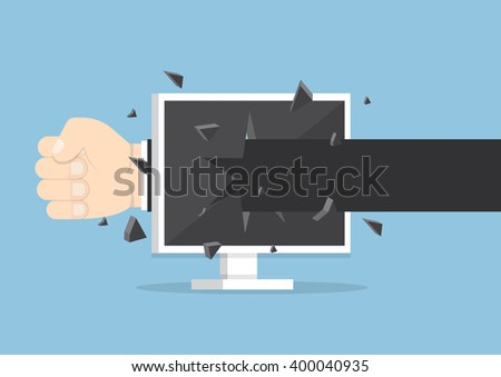 Businessman hand throw a punch through monitor screen, VECTOR, EPS10 - stock vector