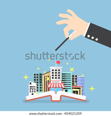 Businessman hand use magical to build city from opened book, creativity, education knowledge concept, VECTOR, EPS10 - stock vector