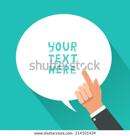 Businessman hand with pointing finger and bubble for text. Consultant giving advice. Vector illustration - stock vector