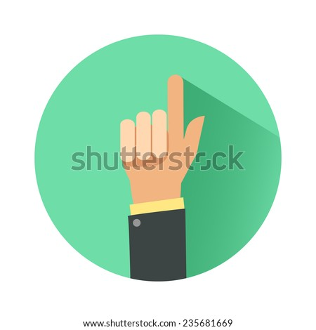 Businessman hand with pointing finger. Consultant giving advice. Flat icon. Colorful vector illustration isolated on white - stock vector