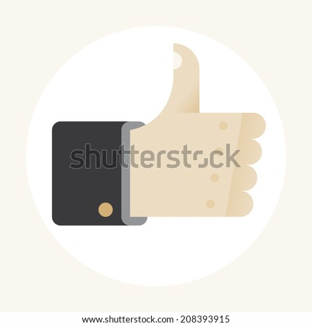 Businessman hand with thumbs up gesture. Idea - Business success symbol, successful negotiations concept. - stock vector
