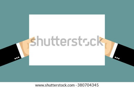 Businessman hands and billboard. Two hands hold white sheet of paper. Blank banner space for your text  - stock vector