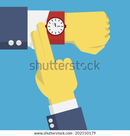 Businessman hands checking time by looking at watch on the wrist, business concept about checking time, deadline, time limit, pressure on time.  - stock vector