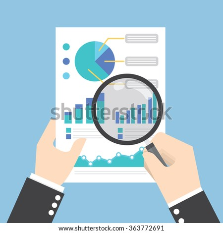 Businessman hands holding a magnifying glass and analysing the data, Data analysis concept, VECTOR, EPS10 - stock vector