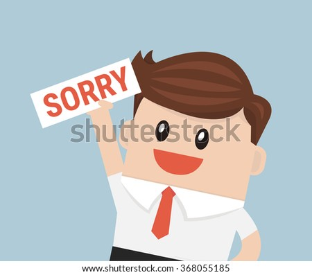 Businessman hands holding sorry sign vector - stock vector