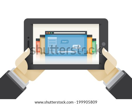 Businessman hands holding tablet computer with internet chat on the screen with Deal? and Deal! business negotiation messages.