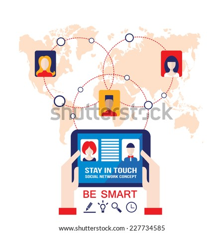 Businessman hands holding the tablet with web icons on world map background. Stay in touch, social network and e-commerce, successful business concept. Vector illustration - stock vector