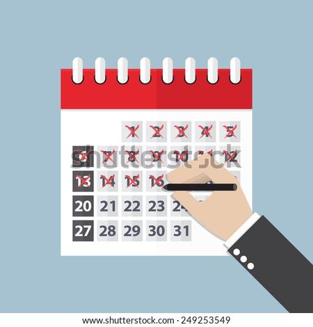 Businessman hands mark on the calendar, VECTOR, EPS10 - stock vector