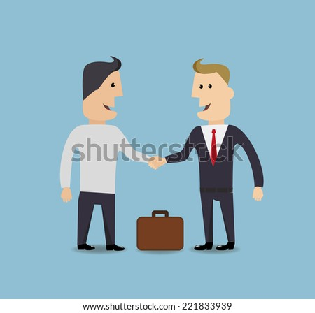 Businessman handshake make a deal vector illustration - stock vector