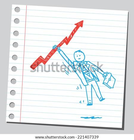 Businessman hanging on arrow - stock vector