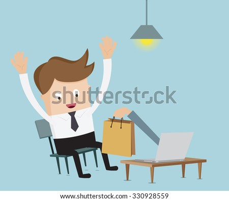 businessman happy for successful online shopping on internet cartoon vector illustration