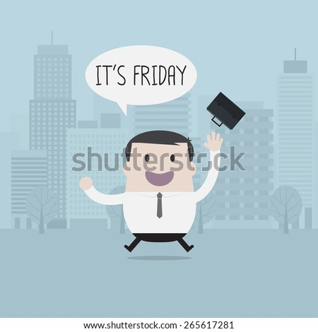 Businessman happy on Friday - Vector  - stock vector