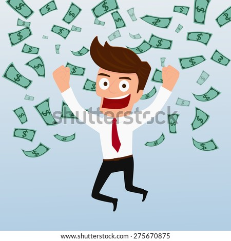 Businessman happy with money flowing in the air. Cartoon Vector Illustration.
