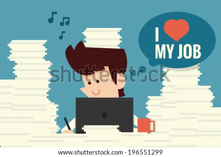 Businessman happy working flat design, vector - stock vector