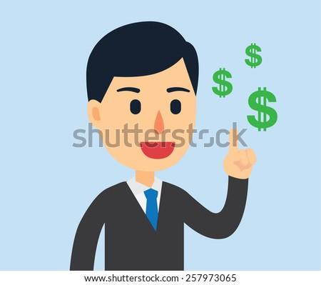 Businessman have a good idea make many money - stock vector