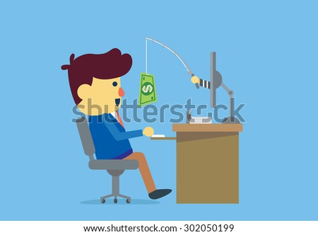 Businessman have been Online Deception from cyber criminals with money. - stock vector