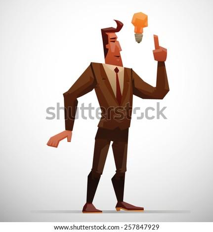 Businessman having idea, vector - stock vector