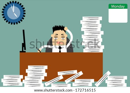 Businessman, He bored work in monday, he want to rest. vector - stock vector